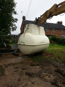 Marsh Sewage Treatment Plant being lowered into the ground in Bicester
