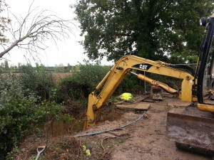 Excavating for the installaiton of a Marsh Sewage Treatment Plant